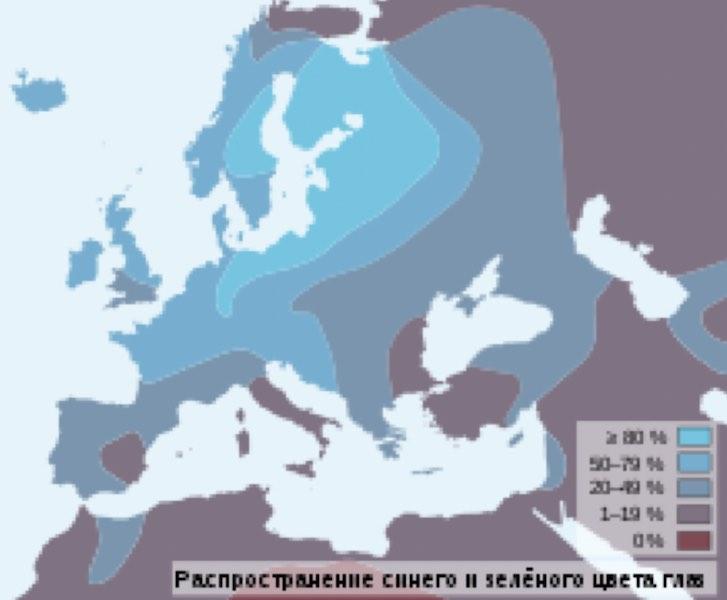 Карта распространения людей с голубыми глазами в Европе
